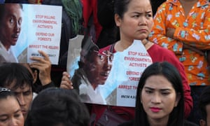 Cambodian land rights activists at a commemoration rally for the prominent environmental activist Chut Wutty who was killed while investigating illegal logging.