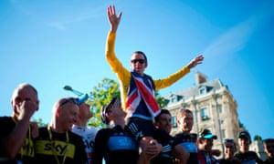 Bradley Wiggins and Team Sky celebrate Tour de France victory in 2012.
