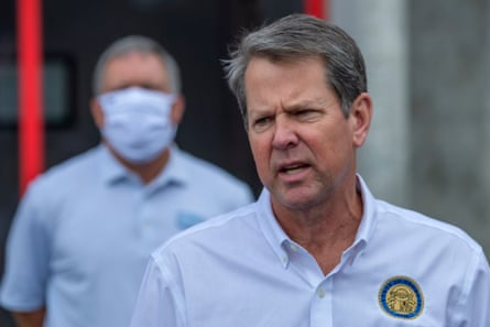 Georgia governor Brian Kemp tours the coronavirus hotspot of Gainesville.
