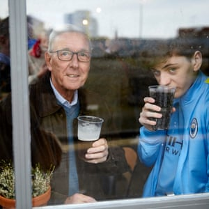 City fans Kevin Halpin and grandson Jackson Halpin in Hit the Bar which opened early to serve drinks and breakfast before the early kick-off.