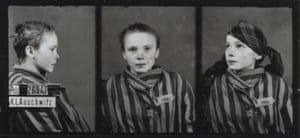 A triple head shot of 14-year-old Czeslawa Kwoka, photographed at Auschwitz