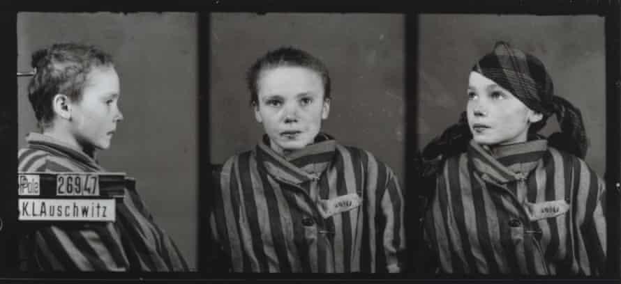 A triple head shot of 14-year-old Czeslawa Kwoka, photographed at Auschwitz