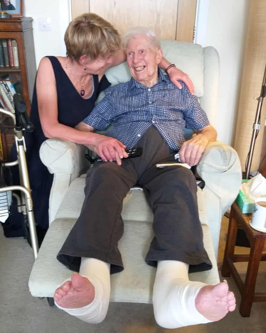 Clare Hamilton-Bate with her stepfather Keith Martin when she finally made it to his home in Sidcup, London.