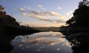 The evening sky reflects on to the infinity pool at Gunlom falls, one of Kakadu's star attractions.