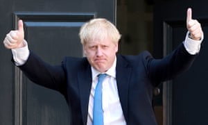 Boris Johnson poses outside the Conservative party's headquarters in London on Wednesday.