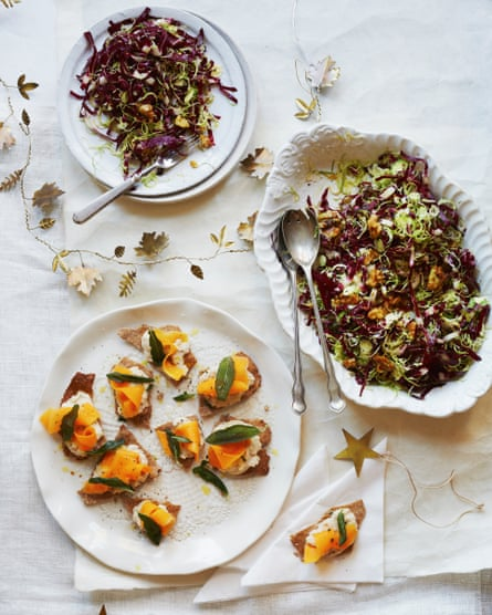 Meera Sodha's vegan pickled squash, sage and cannellini on rye, plus brussels sprouts, radicchio and caramelised walnut salad