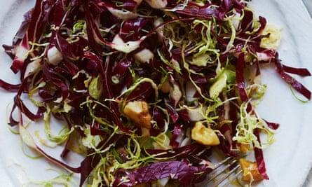 Meera Sodha's vegan brussels sprouts, raddichio and caramelised walnut salad