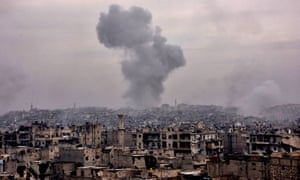 Destroyed buildings in Aleppo's eastern al-Shaar neighbourhood