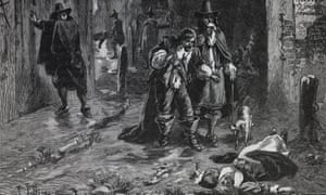 a Victorian illustration of London in the Great Plague of 1664-5.