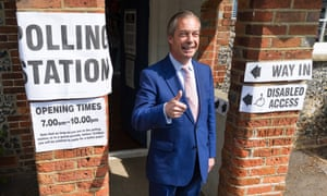 Nigel Farage arriving to cast his vote in the European elections at a polling station in Biggin Hill, Kent