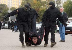 Minsk, BelarusBelarusian policemen detain a protester during a rally to protest against the presidential election results