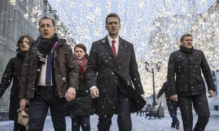 Russian opposition leader Alexei Navalny, centre, in Moscow