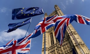 Union and EU fags flutter outside the Houses of Parliament