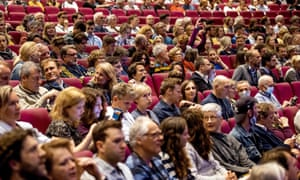 Spectators attend a performance by the Residentie Orkest during a test event in the Zuiderstrandtheater in The Hague. About 800 negative coronavirus-tested, non-vulnerable people attended the event, which is regarded as a field lab event, investigating how such concerts can take place safely amid the Covid-19 pandemic.