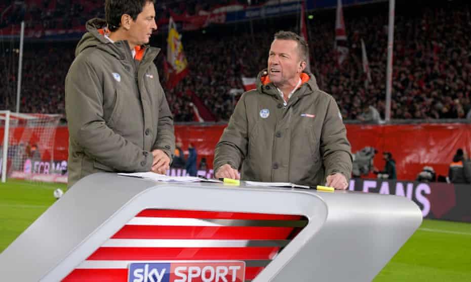 Presenter Sebastian Hellmann and pundit Lothar Matthaus on Sky Sport