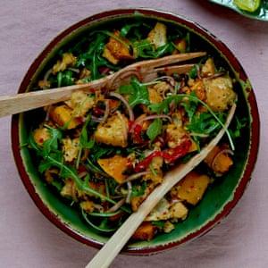 Squash panzanella salad.