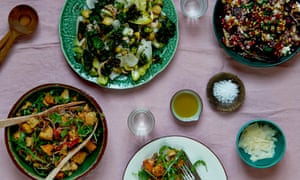 Three winter salads: squash panzanella, radicchio and beetroot, sprout and kale.
