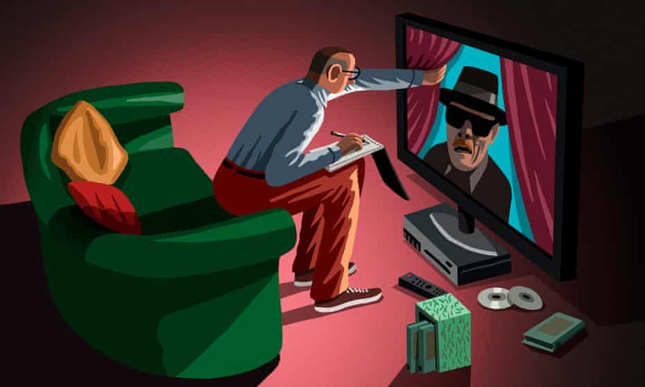 Illustration of Clive James watching box sets on television.