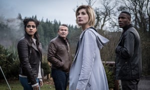 Jodie Whittaker as the Doctor with her three companions.