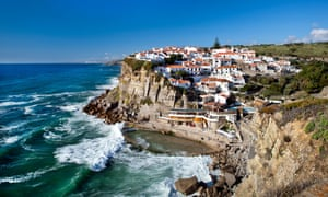 Cliff top town of Azenhas do Mar, Sintra, Portugal, with its seawater swimming pool.