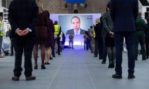 Health secretary Matt Hancock speaking via videolink at the opening of an NHS Nightingale hospital in Birmingham in December.