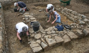 Volunteers excavating the area that included the monastic graves in Somerset.
