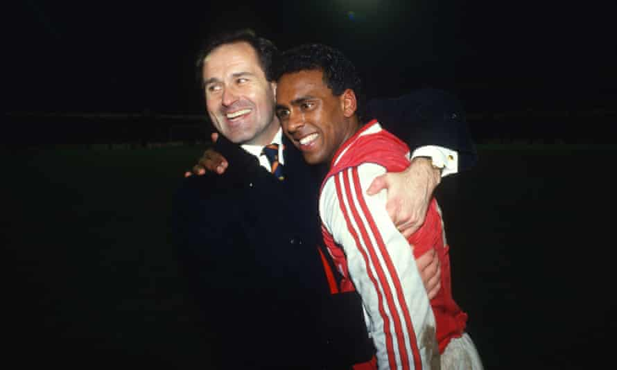 George Graham and David Rocastle enjoy the moment as Arsenal beat Spurs at White Hart Lane in the League Cup on 4 March 1987.