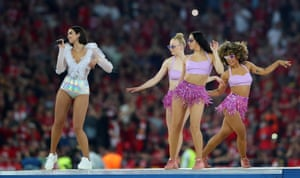 Dua Lipa performs at the Champions League Final in Kiev, 26 May