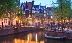 Canal scene at dusk, Amsterdam