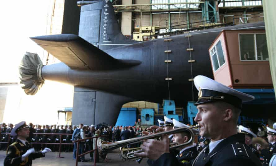 A military orchestra plays during a ceremony to launch a multipurpose nuclear submarine at the Sevmash shipyard in Russia in June 2010.