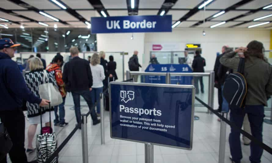 Border Force passport check area at Gatwick Airport