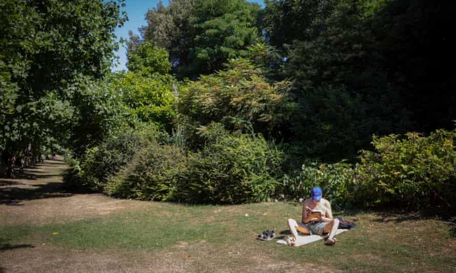 A man enjoys a quiet corner of London's Regent's Park.
