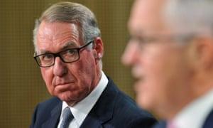 David Gonski and Malcolm Turnbull speak to the media in Sydney on Tuesday.