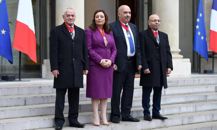The Tunisian national dialogue quartet, including Ouided Bouchamaoui, who won the 2015 Nobel peace prize