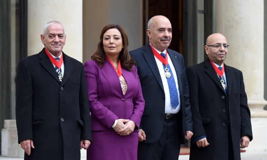 The leading members of the four organisations that make up the Tunisian national dialogue quartet: Houcine Abbassi, Wided Bouchamaoui, Abdessatar Ben Moussa and Fadhel Mahfoudh.