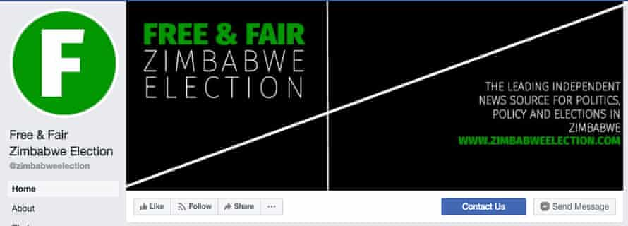 "A screengrab of the page for ""Free & Fair Zimbabwe Election""."