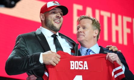 Nick Bosa with NFL chairman Roger Goodell.