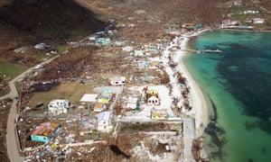Hurricane devastation on the island of Jost Van Dyke in the British Virgin Islands.