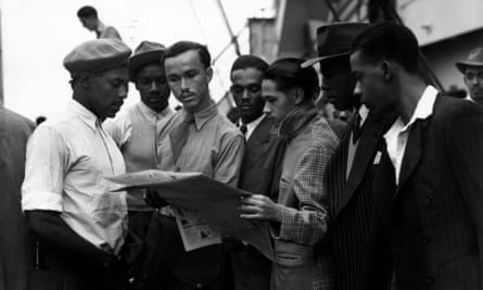 Newly arrived Jamaican immigrants on board the Empire Windrush at Tilbury, 22 June 1948.