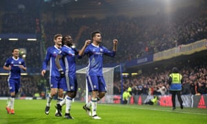 Chelsea's Diego Costa (right) celebrates after opening the scoring at Stamford Bridge