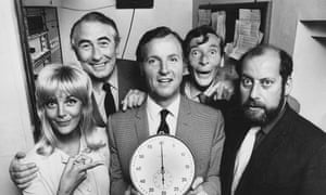 Nicholas Parsons (centre) with Aimi McDonald, Peter Jones, Kenneth Williams and Clement Freud for Radio Times, in connection with the BBC Radio 4 series 'Just a Minute', July 19th 1971.