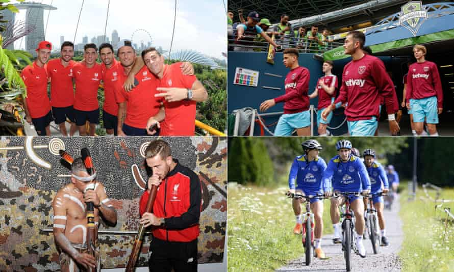 Liverpool in Australia; Arsenal in Singapore; West Ham in the US; Everton in Austria.