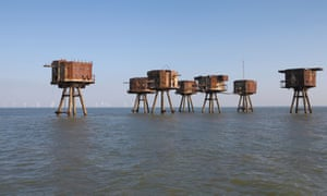 The Red Sands sea forts in the Thames estuary, now abandoned.