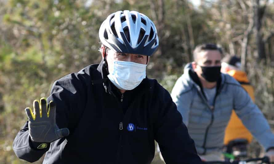 Joe Biden on a bike ride through Cape Henlopen state park Delaware in November last year