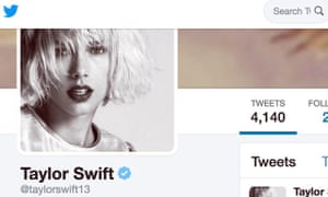 Taylor Swift's blue ticked account