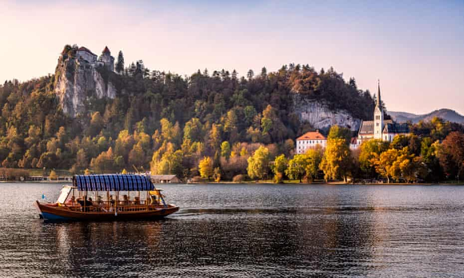 Bled Castle and St Martins Church in Bled Slovenia on the edge of Lake Bled in the Julian Alps