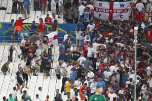 Fans clash at the end of the match.
