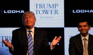 Donald Trump at the launch Of Trump Tower Mumbai in 2014.