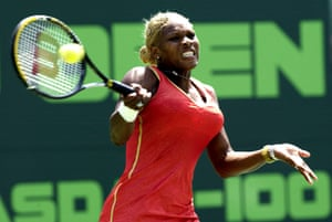 Serena Williams during the Nasdaq-100 Open at The Tennis Center at Crandon Park in Miami, Florida.