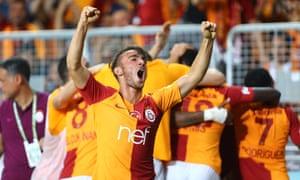 Yunus Akgun, Galatasaray's big hope, celebrates after Eren Derdiyok's goal in the Turkish Super Cup Final against Akhisar.